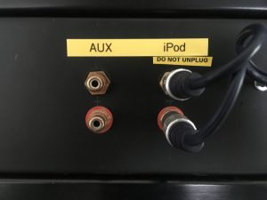 Patch panel with cables connected to ipod input