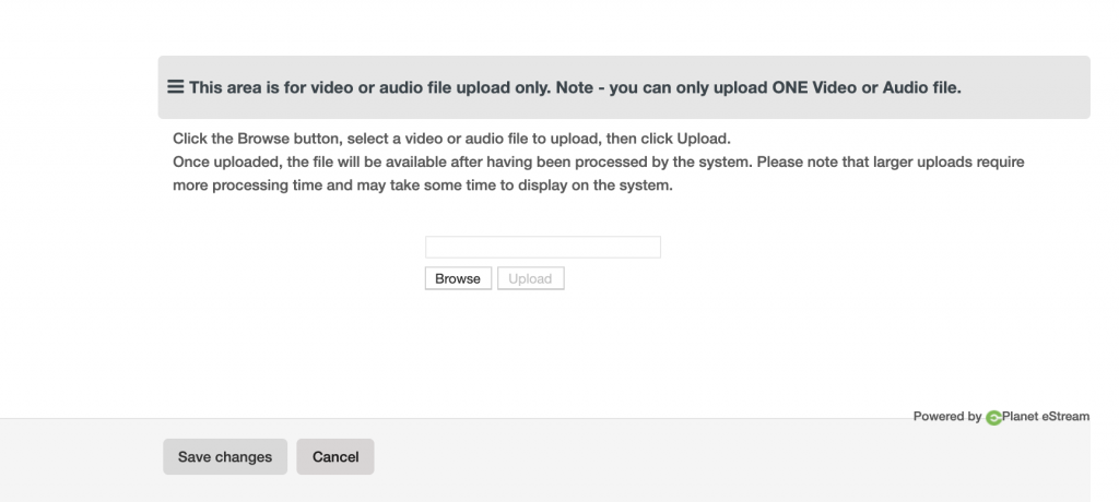 Video or audio only submission form for students