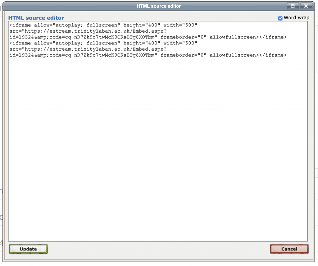 Figure A: Moodle HTML code for embedding video or audio files