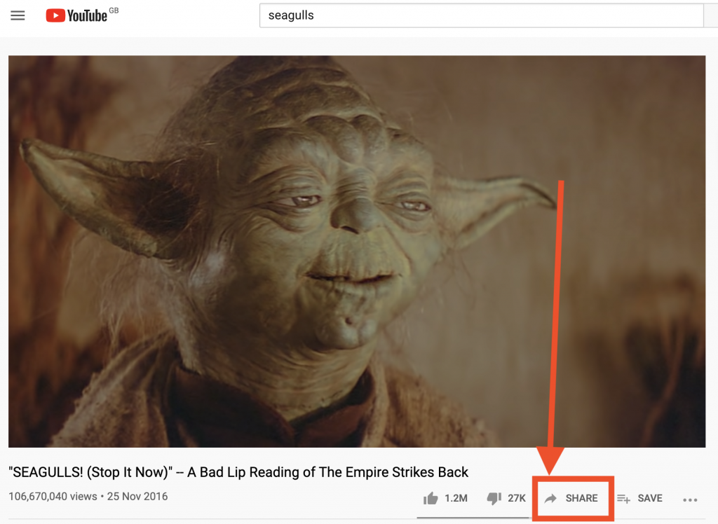 Where to find the YouTube Share button