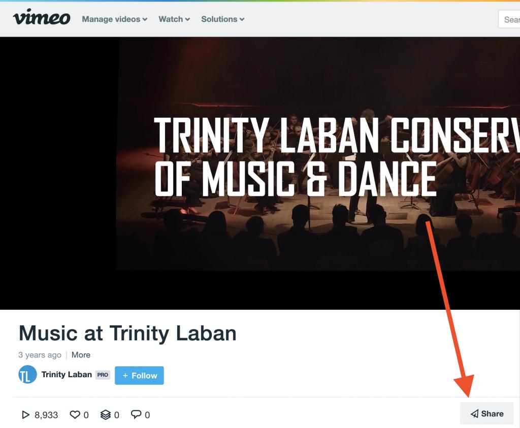 Vimeo's share button