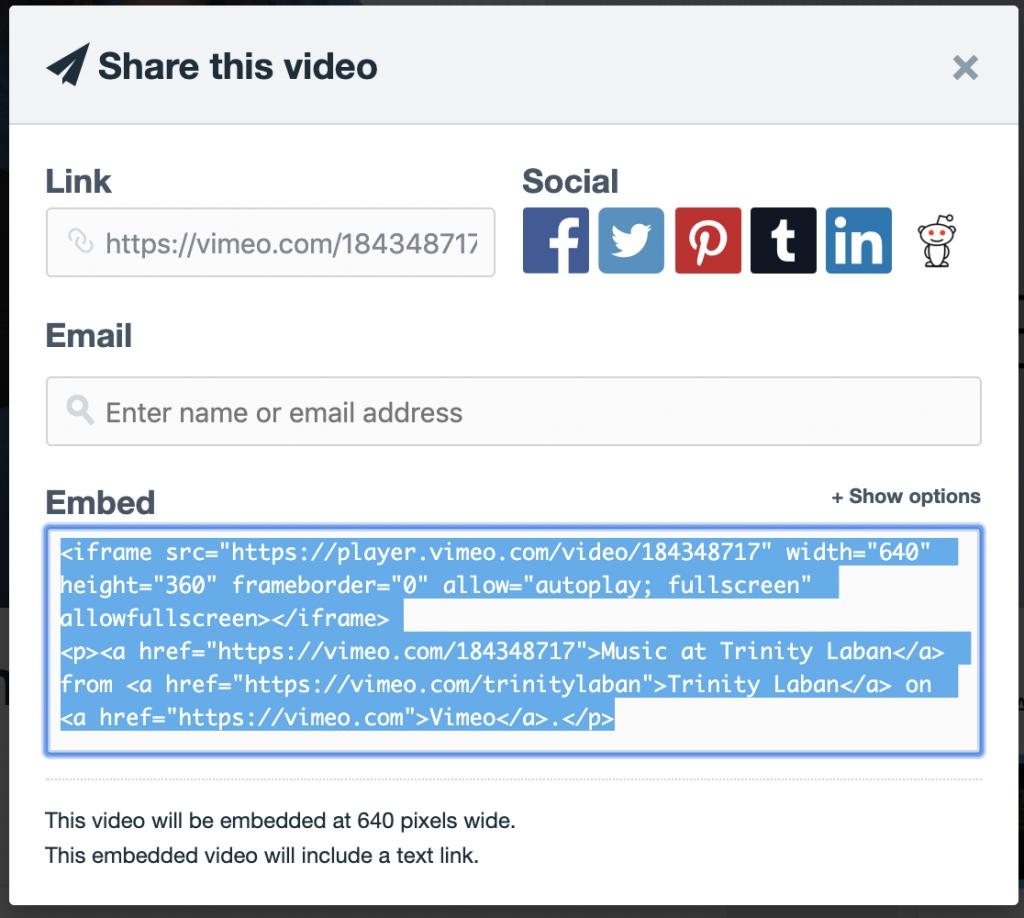 Vimeo's embed code
