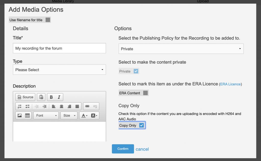 Uploading video to Moodle metadata entry