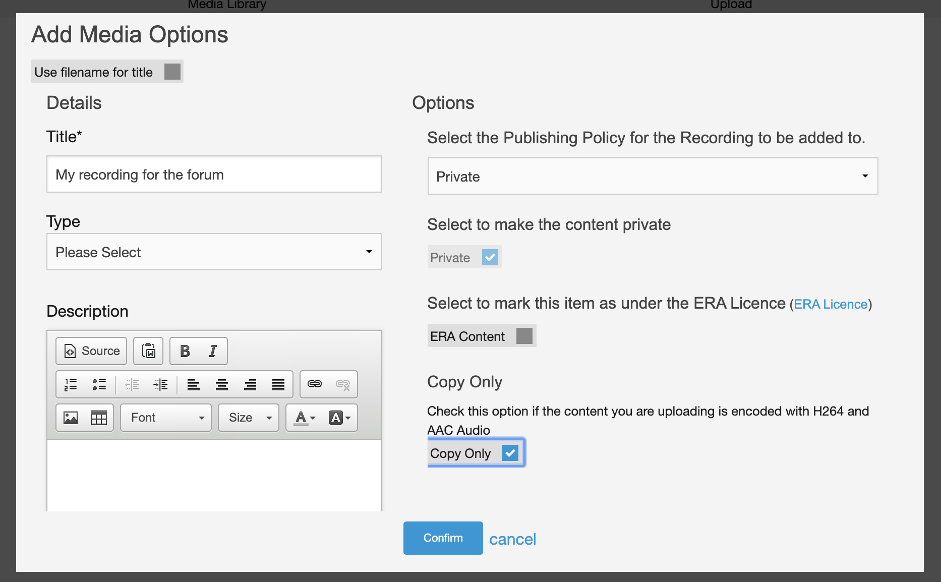 Uploading video to Moodle metadata entry