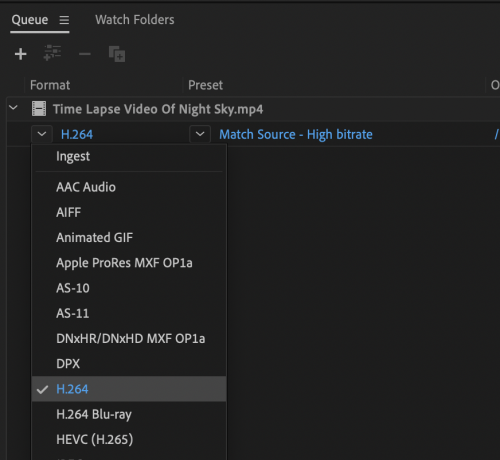 Selecting h264 from Media Encoder