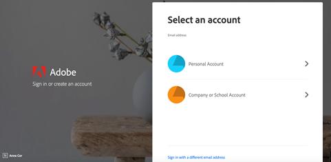 "Adobe website - select ""Company or School account"""