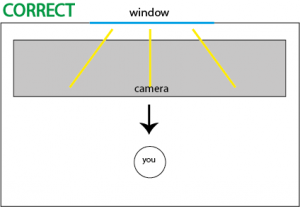 Suggested alignment with window in front of recorded person or object