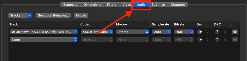 Using Handbrake - setting up Audio Passthrough - 1. Audio Tab