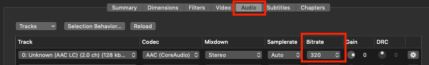 Using Handbrake - setting up Audio - Increasing the bitrate