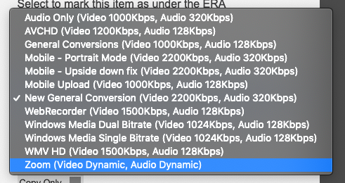 eStream upload - Media Profile dropdown list -> Select Zoom