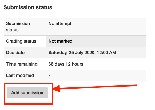 Moodle assessment - Add Submission