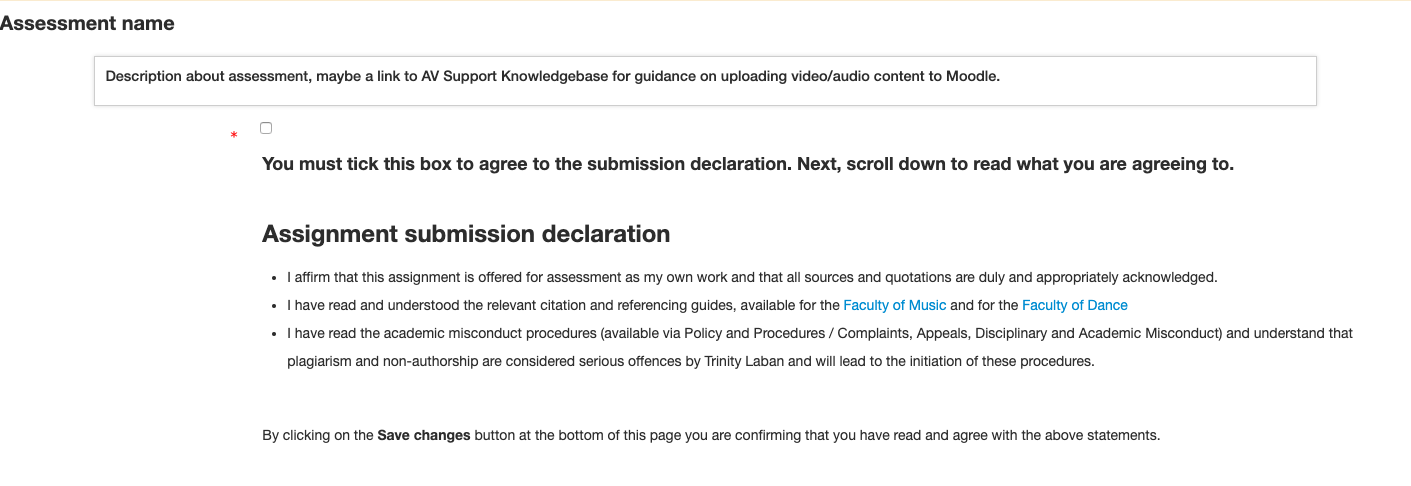 Moodle Assessment - Submission declaration