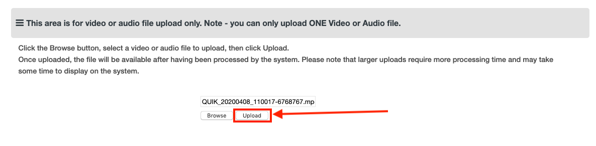 Moodle Assessment - Upload button