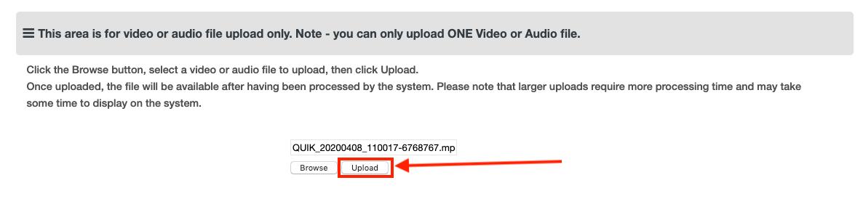 Moodle Assessment - Upload button