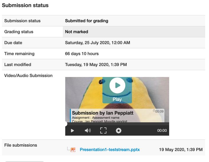 Moodle Assessment - successful upload