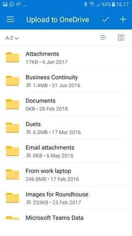 OneDrive app upload