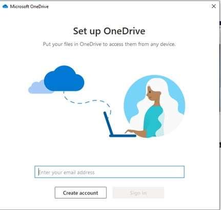 Set up OneDrive screen