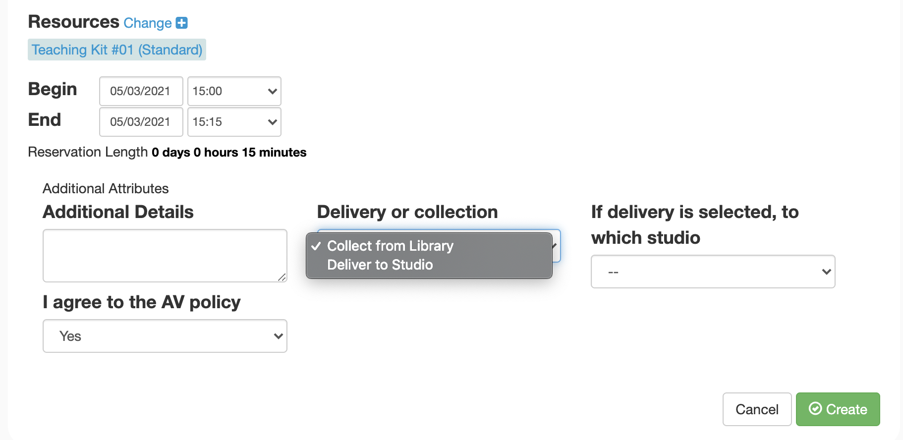 Booking Teaching Kits - Select delivery or collection & fill in details of the studio